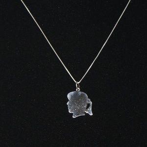 .925 sterling silver vintage girl profile necklace